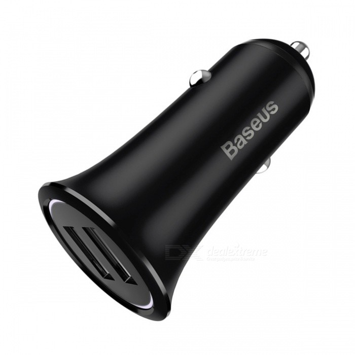 Baseus 3.1A Small Trumpet Metal Dual USB Car Charger with LED Light - BlackAC Chargers<br>Form  ColorBlackModelSmall Trumpet Metal Car ChargerMaterialAluminum AlloyQuantity1 DX.PCM.Model.AttributeModel.UnitCompatible ModelsUniversalInput VoltageDC 12-24 DX.PCM.Model.AttributeModel.UnitOutput Current3.1 DX.PCM.Model.AttributeModel.UnitOutput Voltage5 DX.PCM.Model.AttributeModel.UnitSplit adapter number2Power AdapterCar Cigarette Lighter PlugQuick ChargeYesLED IndicatorYesCertificationCCC,CE,RoHS,FCCPacking List1 x Small Trumpet Metal Car Charger<br>