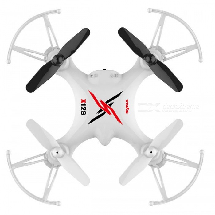 Syma X12S Mini 4CH 6-Axis Gyro RC Helicopter Drone Quadcopter with 3D Roll, 360 Degree Flip, Headless Mode - WhiteR/C Airplanes&amp;Quadcopters<br>Form  ColorWhiteModelX12SMaterialPlasticQuantity1 DX.PCM.Model.AttributeModel.UnitShade Of ColorWhiteGyroscopeYesChannels Quanlity4 DX.PCM.Model.AttributeModel.UnitFunctionOthers,Left/right fly side, handheld left to fly, left/right mode switch, high/low speed switch, 3D roll, 360 degree flip, headless mode.Remote TypeRadio ControlRemote control frequency2.4GHzRemote Control RangeAbout 50 DX.PCM.Model.AttributeModel.UnitSuitable Age 8-11 years,12-15 years,Grown upsCameraNoLamp YesBattery TypeAABattery Capacity100 DX.PCM.Model.AttributeModel.UnitCharging Time60 DX.PCM.Model.AttributeModel.UnitWorking TimeAbout 5 DX.PCM.Model.AttributeModel.UnitRemote Controller Battery TypeAARemote Controller Battery Number4 x AA batteries (Not Inculded)Remote Control TypeWirelessModelMode 2 (Left Throttle Hand)Packing List1 x Syma X12S RC Quadcopter1 x Transmitter 1 x USB Charging Cable 1 x 3.7V 100mAh Li-Po Battery 1 x Spare Blade Set1 x English manual<br>
