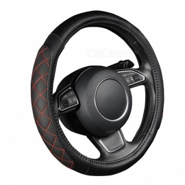 Car-Lychee-Pattern-PU-Leather-Steering-Wheel-Cover-with-Foam-Padding-Sides-38CM15