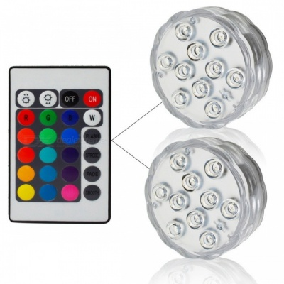 IP67 Waterproof Submersible 10-LED Underwater Light (1Pc Remote Control, 2Pcs Lights)