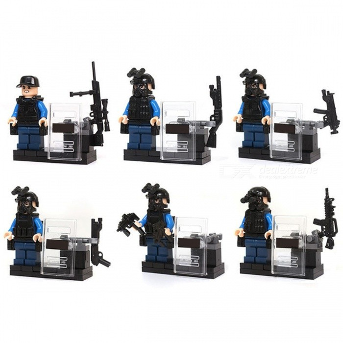 6Pcs City Police SWAT Team CS Commando Army Soldiers Weapon Gun Blocks Toy for KidsOther Toys<br>Form  ColorBlueModelN/AMaterialPlasticQuantity1 setSuitable Age 3-4 years,5-7 yearsPacking List6 x Soldiers Toys<br>