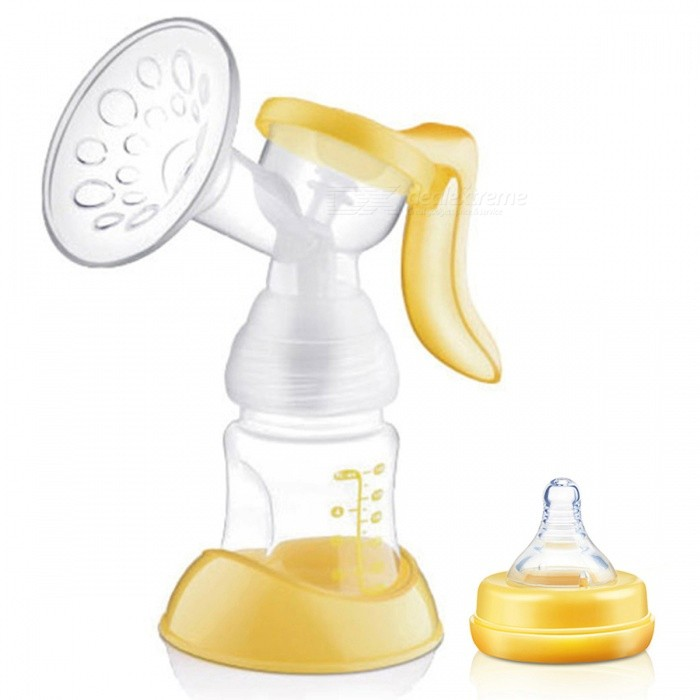 Buy BPA Free Manual Breast Feeding Pump with Milk Bottle Nipple - Yellow with Litecoins with Free Shipping on Gipsybee.com