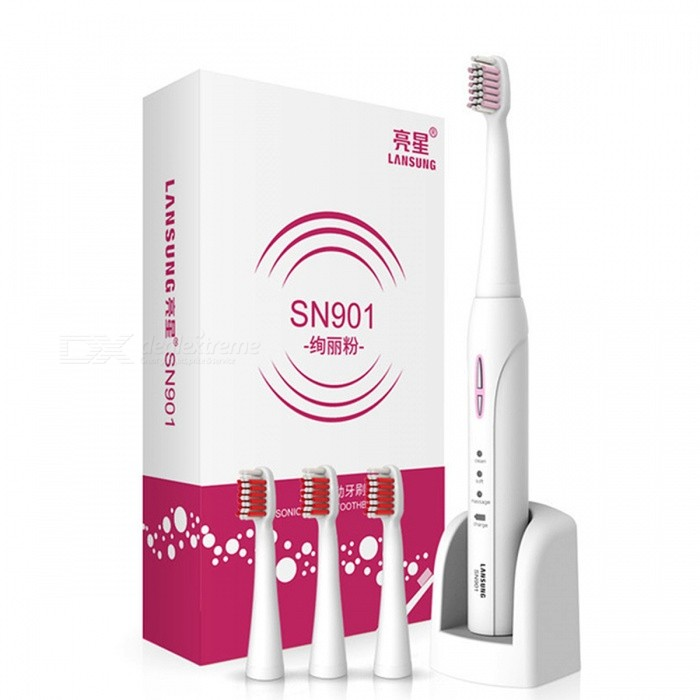 LANSUNG SN901 220V Wireless Inductive Charging Ultrasonic Sonic Auto-Timing Electric Toothbrush with 4Pcs Heads - PinkOral Tooth Care<br>Form  ColorPink (EU Plug)ModelSN901MaterialABSQuantity1 DX.PCM.Model.AttributeModel.UnitShade Of ColorPinkSpeed30000 times/ minPower SupplyAC 220VPower AdapterEU PlugVoltage220 DX.PCM.Model.AttributeModel.UnitCertificationCE,CCCPacking List1 x Toothbrush handle4 x Toothbrush heads1 x Adapter (With a EU Plug)1 x Manual<br>