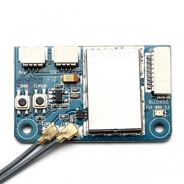 Flysky X6B 2.4G 6CH i-BUS PPM PWM Receiver Module for AFHDS i10 i6s i6 i6x i4x TransmitterOther Accessories for R/C Toys<br>Form  ColorBlack + ColorfulModelN/AMaterialComposite MaterialQuantity1 DX.PCM.Model.AttributeModel.UnitCompatible ModelAll AFHDS 2A Transmitter, for example FS-i10, FS-i8, FS-i6,FS-i6S, FS-i6X, FS-i4, FS-i4X.Packing List1 x Flysky X6B 2.4GHz 6CH Receiver Module<br>