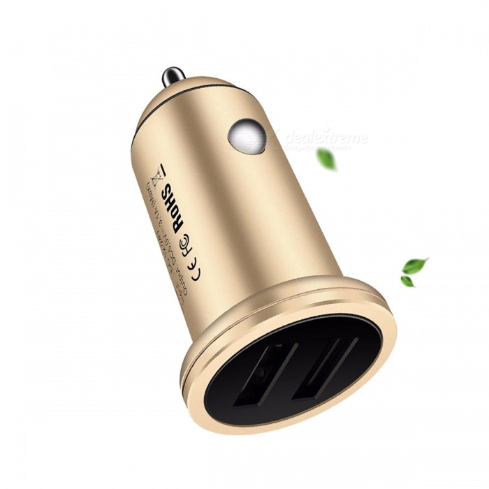 USAMS US-CC016 3.1A Dual USB Metal Quick Charge Car Charger - GoldenAC Chargers<br>Form  ColorGoldenModelUS-CC016MaterialAluminum alloyQuantity1 DX.PCM.Model.AttributeModel.UnitCompatible ModelsUniversalInput VoltageDC 12~24 DX.PCM.Model.AttributeModel.UnitOutput Current3.1 DX.PCM.Model.AttributeModel.UnitOutput VoltageDC 5 DX.PCM.Model.AttributeModel.UnitSplit adapter number2Power AdapterCar Cigarette Lighter PlugCertificationFCC,CE,RoHSPacking List1 x Car Charger<br>