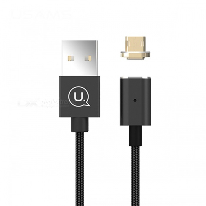 USAMS 2.1A Micro USB Nylon Magnetic Data Sync Charging Cable - Black (1.2M)Cables<br>Form  ColorBlackModelUS-SJ132MaterialAluminum Alloy + NylonQuantity1 DX.PCM.Model.AttributeModel.UnitCompatible ModelsUniversalCable Length120 DX.PCM.Model.AttributeModel.UnitConnectorUSBSplit adapter number1Packing List1 x Micro USB Cable<br>
