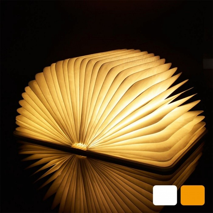 USB Rechargeable Wooden Cover Warm White Folding Book LED Night Light - Walnut Cover