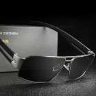 Retro Unisex Aluminum Sunglasses UV400 Protection Polarized Lens Vintage Eyewear Driving Sun Glasses for Men Women - Silver