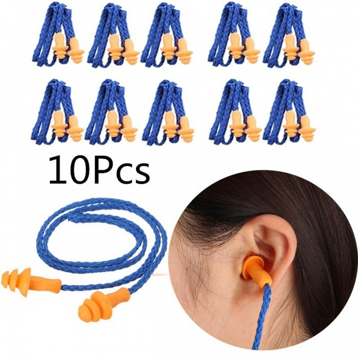 Reusable Soft Silicone Corded Ear Plugs Hearing Protection Reduce Noise Earplugs - Blue (10PCS)