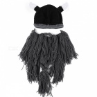 Barbarian-Vagabond-Viking-Beard-Beanie-Horn-Mens-Hat-Handmade-Knit-Winter-Warm-Holiday-Party-Cool-Funny-Cosplay-Cap-Gray