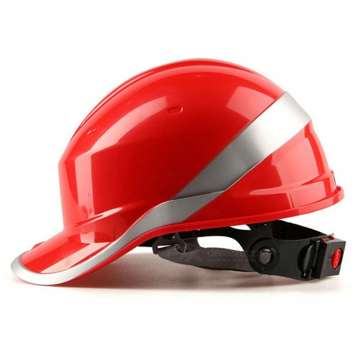 Safety Helmet Hard Hat Work Cap with ABS Insulation Material, Phosphor Stripe - Red