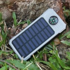DIY Assembling Solar Powered Power Bank Enclosure Case with LED Flashlight Compass for IPHONE, IPAD, Samsung and More - Grey