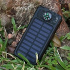 DIY Assembling Solar Powered Power Bank Enclosure Case with LED Flashlight Compass for IPHONE, IPAD, Samsung and More - Black