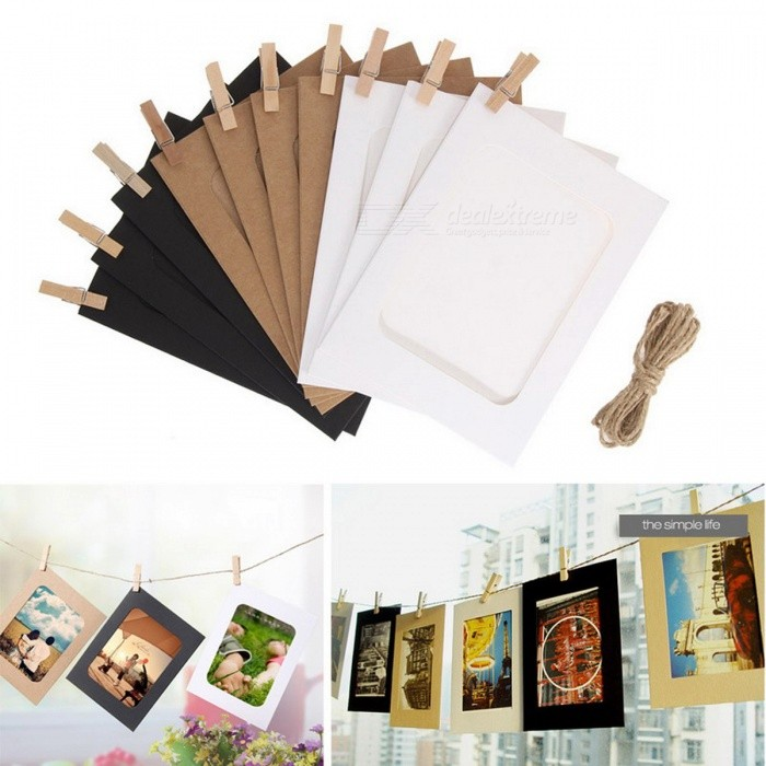 10pcs Diy Kraft Hanging Wall Photo Frames With 10pcs Clips And Rope