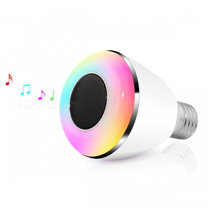 Buy 2-in-1 6W Bluetooth Intelligent Smart Wireless Speaker E27 RGB LED Bulb - White with Litecoins with Free Shipping on Gipsybee.com