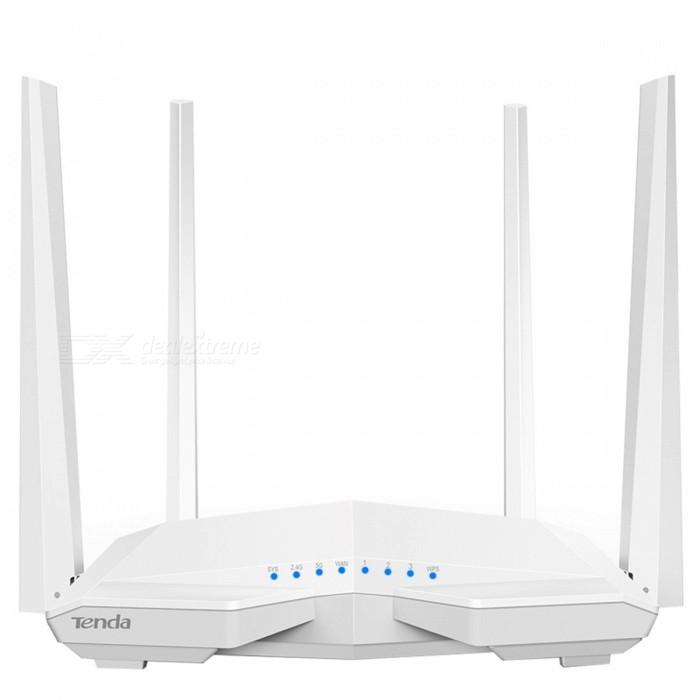 Tenda AC6 1200Mbps 2.4G/5.0GHz Smart Gigabit Wireless Wi-Fi Router Repeater, APP Remote Manage, English Firmware - WhiteRouters<br>Form  ColorWhite (English Firmware)ModelAC6Quantity1 DX.PCM.Model.AttributeModel.UnitMaterialABSShade Of ColorWhiteTypeRouterTransmission RateOthers,1200 DX.PCM.Model.AttributeModel.UnitNetwork ProtocolsOthers,Wi-Fi 802.11ac,Wi-Fi 802.11g,Wi-Fi 802.11n,Wi-Fi 802.11bWireless Data Rates300MWAN1 x 10UI Language/Support DD-WRTNoPacking List1 x Power Adapter 1 x Install Guide<br>