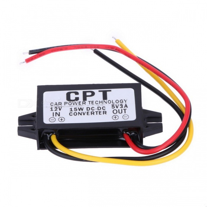 DC 12V to DC 5V 3A 15W Auto Car Power Converter Regulator Adapter for Auto Car Navigation NavigatorCar Power Inverters<br>Form  ColorBlackModel-Quantity1 DX.PCM.Model.AttributeModel.UnitMaterialPlasticInput Voltage12 DX.PCM.Model.AttributeModel.UnitSocket Output Voltage5 DX.PCM.Model.AttributeModel.UnitSocket Output Current3 DX.PCM.Model.AttributeModel.UnitUSB Output Voltage5 DX.PCM.Model.AttributeModel.UnitOutput Current3 DX.PCM.Model.AttributeModel.UnitContinuous Output Power15 DX.PCM.Model.AttributeModel.UnitPeak Output Power15 DX.PCM.Model.AttributeModel.UnitWaveform TypeModified Sine WaveUSBUSB 2.0Output SocketDCConversion Efficiency92%Output Frequency1MHzOver Voltage ProtectionYesLow-voltage ProtectionYOvertemperature ProtectionYIndicator LightNoPower CableYApplicationOthers,Cellphone, Notebook, Digital Camera, GPS Navigator, Bluetooth Kit, DVD, Monitor, PDAOperating Temperature-45~45 DX.PCM.Model.AttributeModel.UnitPacking List1 x Car Power Converter<br>