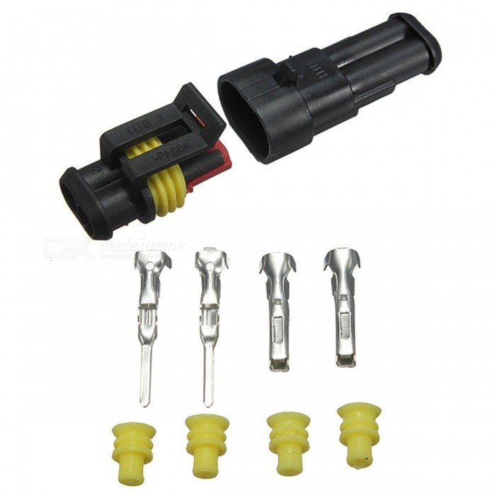 Car Parts Two Pin Way Sealed Waterproof Electrical Wire Auto Connector Plug Set (10PCS)Other Gadgets<br>Form  ColorBlackModel-Quantity1 DX.PCM.Model.AttributeModel.UnitMaterialPlasticShade Of ColorBlackPacking List5 x 2 way male connector housing and insert5 x 2 way female connector housing and insert5 x Silicon rubber connector seal20 x Silicon rubber cable seals10 x Male terminals10 x Female terminals<br>