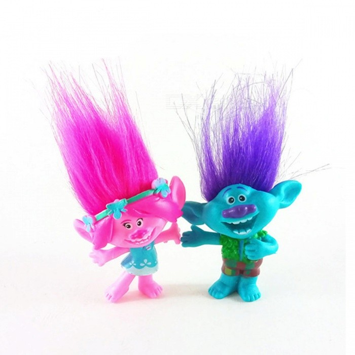 2Pcs/Lot Trolls Figures Poppy Branch Action Figure Toy SetOther Toys<br>Form  ColorBlue + RedModelN/AMaterialPVCQuantity1 DX.PCM.Model.AttributeModel.UnitSuitable Age 3-4 years,5-7 yearsPacking List1 x Poppy1 x Branch<br>