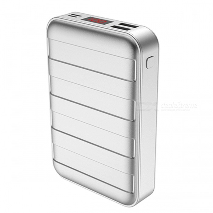 USAMS US-CD14 20000mAh LED Display Suitcase Shape Power Bank with Dual USB Ports - SliverMobile Power<br>Form  ColorSilverModelUS-CD14Quantity1 DX.PCM.Model.AttributeModel.UnitMaterialPC + ABSShade Of ColorSilverCompatible ModelsOthers,universalCompatible TypeUniversalBattery TypeLi-polymer batteryBuilt-in Battery ModelOthers,/Voltage5 DX.PCM.Model.AttributeModel.UnitCapacity Range15000mAh~20000mAhNominal Capacity20000 DX.PCM.Model.AttributeModel.UnitBattery Measured Capacity 20000 DX.PCM.Model.AttributeModel.UnitInput5V/1.5A,5V/2AOutput interface, output current, output voltage5V/2.1ACharging TimeN/A DX.PCM.Model.AttributeModel.UnitWorking TimeN/A DX.PCM.Model.AttributeModel.UnitQuick ChargeYesFeaturesLED Indicator,Quick ChargePacking List1 x Power Bank<br>