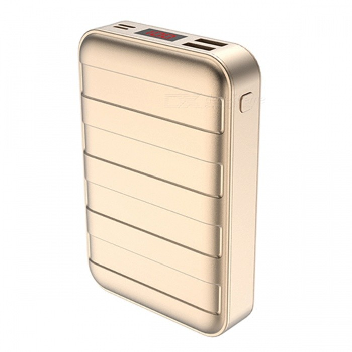 USAMS Mini Portable 20000mAh LED Display Suitcase Shape Power Bank with Dual USB Ports - GoldenMobile Power<br>Form  ColorGoldenModelUS-CD14Quantity1 DX.PCM.Model.AttributeModel.UnitMaterialPC+ ABSShade Of ColorGoldCompatible ModelsOthers,universalCompatible TypeUniversalBattery TypeLi-polymer batteryBuilt-in Battery ModelOthers,/Voltage5 DX.PCM.Model.AttributeModel.UnitCapacity Range15000mAh~20000mAhNominal Capacity20000 DX.PCM.Model.AttributeModel.UnitBattery Measured Capacity 20000 DX.PCM.Model.AttributeModel.UnitInput5V/2A, 5V/1.5AOutput interface, output current, output voltage5V/2.1ACharging TimeN/A DX.PCM.Model.AttributeModel.UnitWorking TimeN/A DX.PCM.Model.AttributeModel.UnitQuick ChargeYesFeaturesLED Indicator,Quick ChargeCertificationFCC ROHS CEPacking List1 x Power Bank<br>