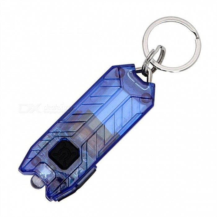 Mini LED Keychain Flashlight 45lm 2-Mode Portable USB Rechargeable Light - Blue
