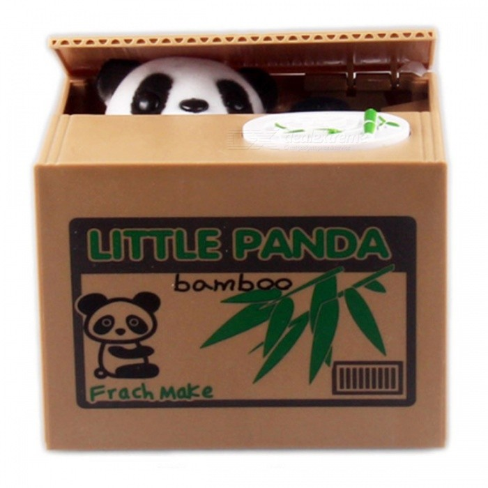 Mischief White Panda Shaped Automatic Electric Stole Coin Piggy Bank