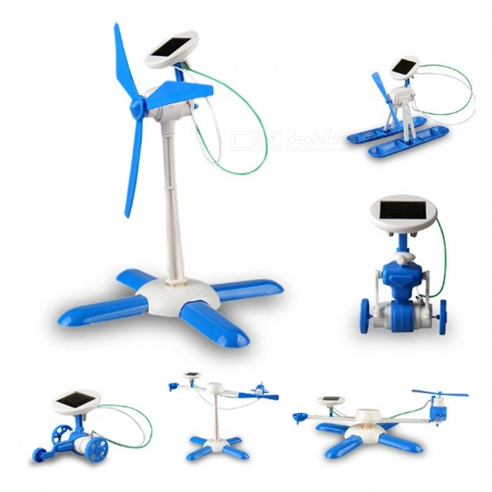 6-in-1 DIY Solar Powered Toy Kit Robot Windmill Plane Car Style Intelligence Development Educational Toy