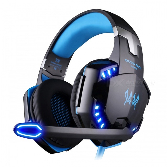 KOTION EACH G2200 Gaming Headphone USB 7.1 Surround Stereo Headset Headphones - BlueHeadphones<br>Form  ColorBlueBrandKOTION EACHModelG2200MaterialPlasticQuantity1 DX.PCM.Model.AttributeModel.UnitConnection3.5mm WiredBluetooth VersionNoCable Length2.2 DX.PCM.Model.AttributeModel.UnitHeadphone StyleBilateral,HeadbandWaterproof LevelOthers,SweatproofApplicable ProductsUniversalHeadphone FeaturesPhone Control,Long Time Standby,Noise-Canceling,Volume Control,With Microphone,Game HeadsetSupport Memory CardNoSupport Apt-XNoSensitivity113dB +/- 3dBFrequency Response15Hz-20KHzImpedance32 DX.PCM.Model.AttributeModel.UnitDriver Unit50mmPacking List1 x KOTION EACH G2200 USB 7.1 Gaming Headphones1 x English User Manual<br>