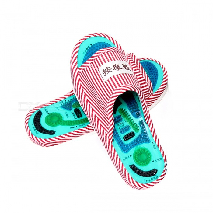 1 Pair Slipper Reflexology Foot Acupoint Massager for WomenRelax and Massagers<br>Form  ColorWomenMaterialCotton, EVA, PVCQuantity1 DX.PCM.Model.AttributeModel.UnitShade Of ColorMulti-colorMassager PartFootPrinciple of Massage/Control Mode/Number of Massage Heads1 DX.PCM.Model.AttributeModel.UnitThermotherapy FunctionNoTiming FunctionNoPower SupplyOthers,N/APower AdapterWithout Power AdapterPower0 DX.PCM.Model.AttributeModel.UnitPacking List1 Pair x Acupoint Slipper Massager<br>