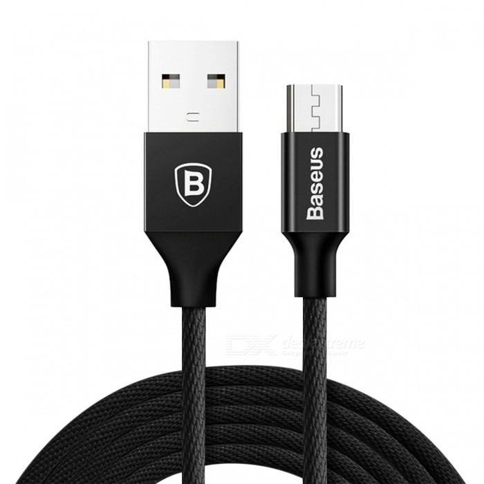 Baseus Yiven Micro USB 2A Fast Charge Data Sync Charging Cable - Black (1.5M)Cables<br>Form  ColorBlackModelCAMYW-B01MaterialAluminum alloy + clothQuantity1 DX.PCM.Model.AttributeModel.UnitCompatible ModelsUniversalCable Length150 DX.PCM.Model.AttributeModel.UnitConnectorMicro USBSplit adapter number1Packing List1 x Cable<br>