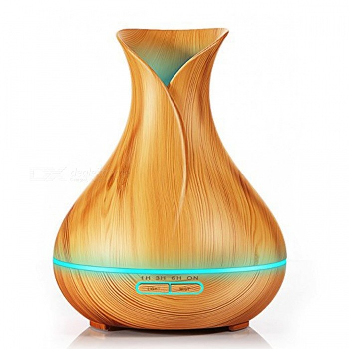 400ml Aroma Essential Oil Diffuser with 7-Color Changing LED Lights for Office Home - Light Wood (US Plug)