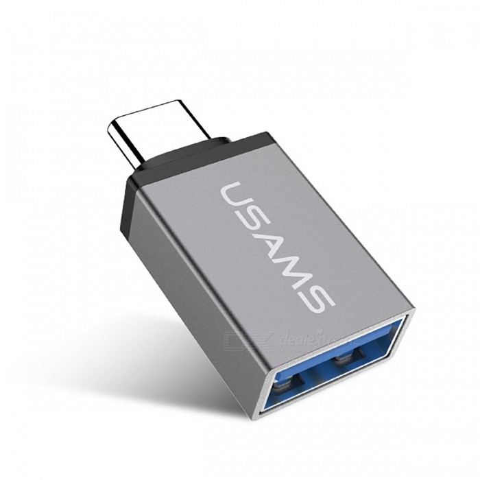USAMS Type-C Male to USB 3.1 Female OTG Adapter Converter - GreyAdapters &amp; Converters<br>Form  ColorGreyMaterialAluminum alloyQuantity1 DX.PCM.Model.AttributeModel.UnitCompatible ModelsType-c interface devicesMain Functionscharging ,data transmissionTransmission Rate10GbpsConnectorType c , usbSplit adapter number1Packing List1 x Adapter<br>