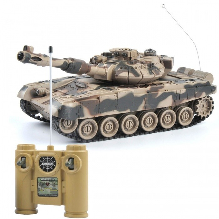 1:20 9CH 27Mhz Infrared Remote Control Battle Tiger T90 Cannon RC Tank Toy for Kids - YellowR/C Tanks<br>Form  ColorYellowModelN/AMaterialPlastic,RubberQuantity1 DX.PCM.Model.AttributeModel.UnitShade Of ColorYellowScaleOtherChannels QuanlityOthers,9 DX.PCM.Model.AttributeModel.UnitFunctionOthers,Forward, backward, turn left, turn right, fort rotate 330 °, lighting, music, rally, automatic presentationRemote control frequency27MHzRemote Control Range25 DX.PCM.Model.AttributeModel.UnitSuitable Age 5-7 years,8-11 years,12-15 yearsCameraNoLamp NoBattery TypeNi-MH batteryBattery Capacity700 DX.PCM.Model.AttributeModel.UnitCharging TimeAbout 3 DX.PCM.Model.AttributeModel.UnitWorking Time20-30 DX.PCM.Model.AttributeModel.UnitRemote Control TypeWirelessModelMode 1 (Right Throttle Hand),Mode 2 (Left Throttle Hand)Remote Controller Battery TypeAARemote Controller Battery Number2 x AA (not included)Packing List1 x Tank1 x Manual1 x Remote control1 x Battery1 x USB Cable1 x Soldiers and gun<br>