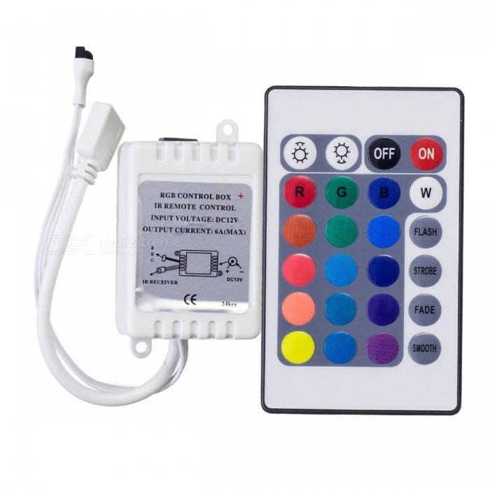 Mini 24-Key IR Remote RGB Controller for SMD3528/5050/5730/5630/3014 RGB LED Strip LightsDimmer Controllers<br>Form  ColorWhite + MulticolorMaterialPlasticQuantity1 DX.PCM.Model.AttributeModel.UnitWith Switch ControlYesPower72 DX.PCM.Model.AttributeModel.UnitWorking Temperature/ DX.PCM.Model.AttributeModel.UnitWater-proofNoRanges of remote10 DX.PCM.Model.AttributeModel.UnitWorking Voltage   DC12 DX.PCM.Model.AttributeModel.UnitWorking Current6 DX.PCM.Model.AttributeModel.UnitDimmableYesPacking List1 x RGB Led Strip Controller<br>
