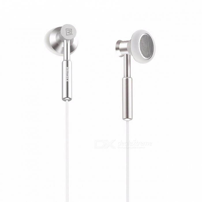 Remax 3.5mm Metal Stereo Headset Bass In-Ear Earphone with Micphone - White