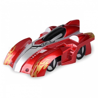 Electric Remote Control 360 Degree Rotating Wall Climbing RC Car with LED Lamp - Red