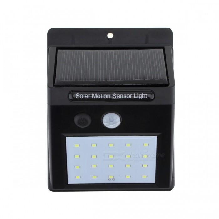 80LM 20-LED IP65 Waterproof Solar Powered PIR Motion Sensor Christmas Wall Light for Outdoor Yard Path - Black (4 PCS)Solar Lamps<br>Form  ColorBlackMaterialABSQuantity4 DX.PCM.Model.AttributeModel.UnitWaterproof LevelIP65Emitter TypeOthers,2835SMDPower0.8 DX.PCM.Model.AttributeModel.UnitWorking Voltage   5.5 DX.PCM.Model.AttributeModel.UnitBattery Capacity1200 DX.PCM.Model.AttributeModel.UnitLumens80 DX.PCM.Model.AttributeModel.UnitBattery Charging Time8 HoursPacking List4 x Solar PIR Motion Sensor Lights4 x Installing Screws4 x Probes4 x Manuals<br>
