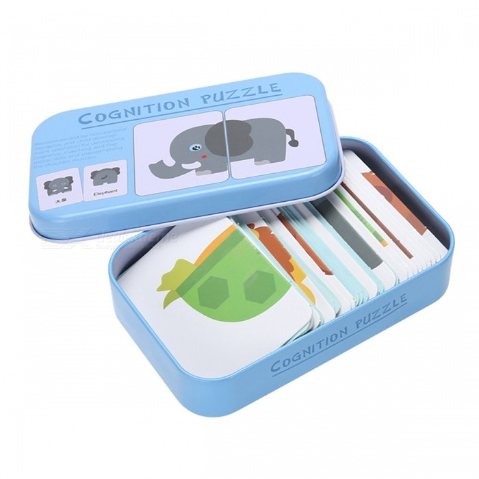 Iron Box Cards Cognition Puzzle Toy for Toddler Baby Kids - Blue