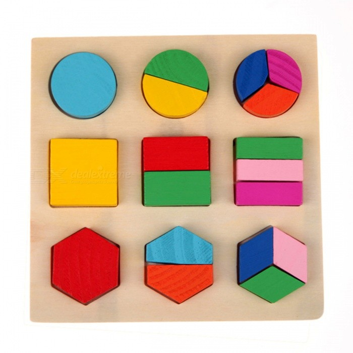 Wooden Learning Geometry Educational Toy for Kids Baby - Multicolor (01)