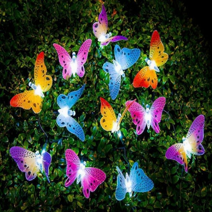 12-LED Multi-Color Solar Powered Butterfly Fiber Optic Fairy String Lights for Outdoor Garden Holiday Festival Party Decoration