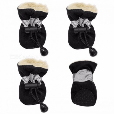 4pcs Waterproof Winter Pet Dog Shoes Thick Warm Anti-slip Rain Snow Boots Footwear Socks for Small Cats Dogs Puppy Dog S/Black