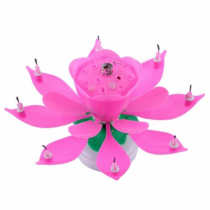 Electric Musical Lotus Flower Shape Art Candle Rotating Light