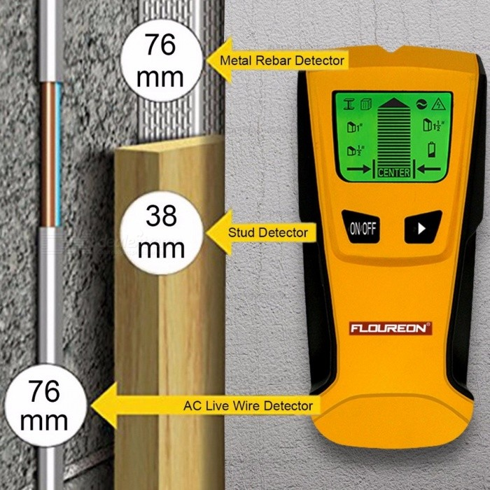 Floureon Portable 3-in-1 Metal Detector, Wood Studs AC Voltage Live Wire Detect Wall Scanner, Electric Box Finder Floureon