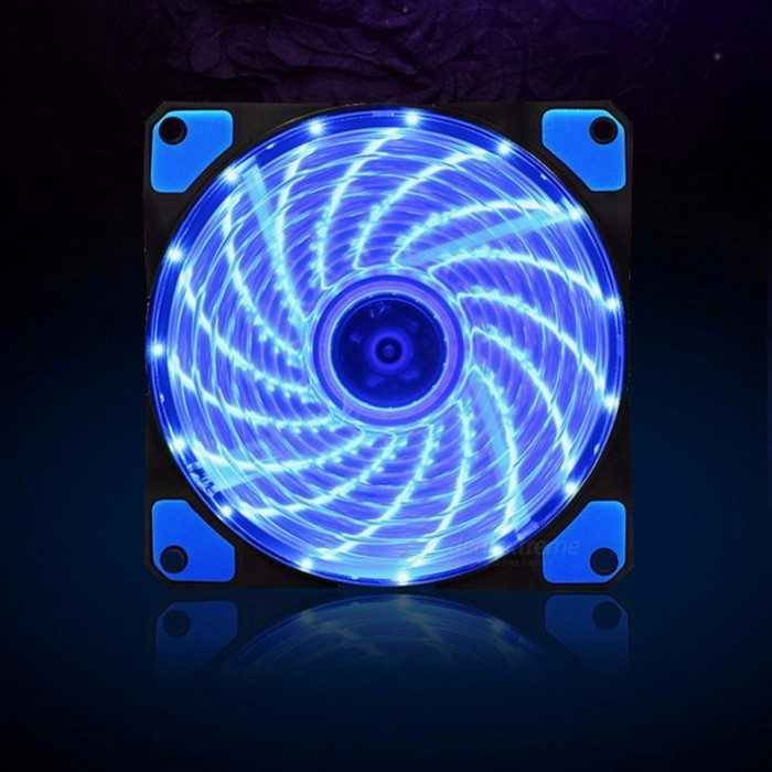 120mm LED Ultra Silent Computer PC Case Fan 15 LEDs 12V With Rubber Quiet Molex Connector Easy Installed Fan blue light