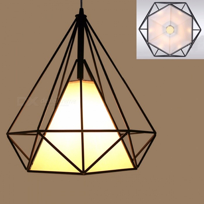 Buy Modern Black Birdcage Pyramid Pendant Light, Iron Minimalist Retro Style Metal Cage Light with LED Bulb for Scandinavian Loft   Black(Diameter 250mm) with Litecoins with Free Shipping on Gipsybee.com