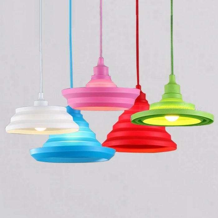 Novelty Colorful Silica Gel Plastic E27 Art Pendant Light Lampshade for Bar Restaurant Bedrooms Large Shopping Mall Lighting  BlackPendant Lights<br>DescriptionItem Type: Pendant LightsBrand Name: nbibdeLampshade Color: Orange,Green,White,Brown,Pink,Blue,Black,Yellow,Purple,RedCertification: CE,RoHSPower Source: ACInstallation Type: Cord PendantBase Type: E27Material: PlasticPlace: Study,Parlor,Master Bedroom,other bedroomsLighting Area: 3-5square metersApplication: Dining RoomSwitch Type: Knob switchIs Bulbs Included: NoVoltage: 90-260VTechnics: Plain DyedIs Dimmable: NoBody Material: PlasticStyle: NoveltyLight Source: Incandescent BulbsNumber of light sources: 1Finish: Other<br>
