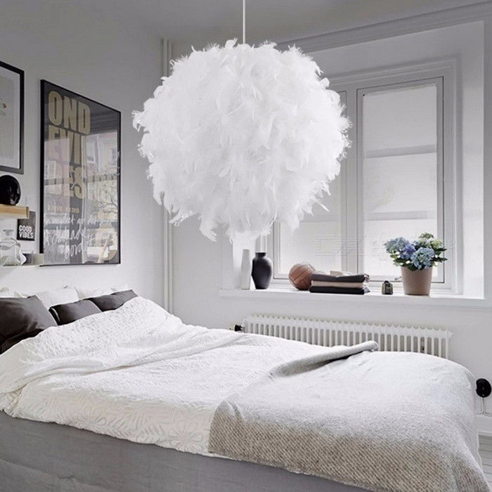 Modern Romantic Pendant Light Dreamlike Feather Droplight Bedroom Hanging Lamp Lamparas E27 Base 110-240V White