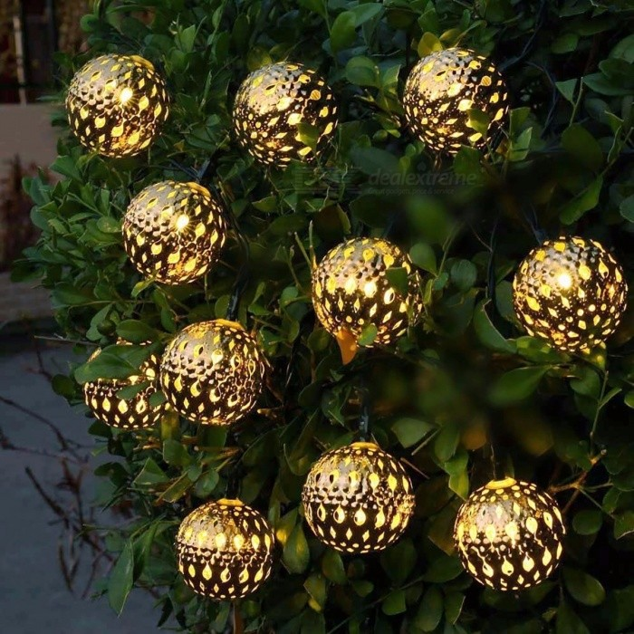 waterproof 10 led solar powered fairy light moroccan lantern silver metal globe string lights lamp for outdoor christmas tree warm white