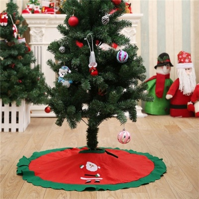 70-100cm Christmas Tree Skirt Embroidered Non-woven Christmas Tree Skirt Xmas Trees Ornaments Christmas Decorations for Home 90 cm